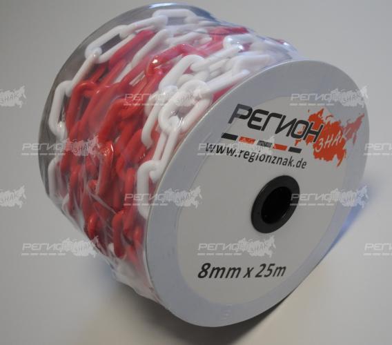 Бухта пластиковой оградительной цепи с диаметром звена М 8 мм.